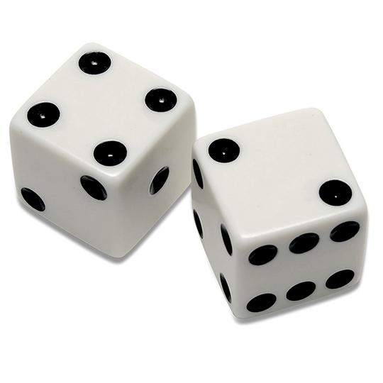 Thumb white six sided dice